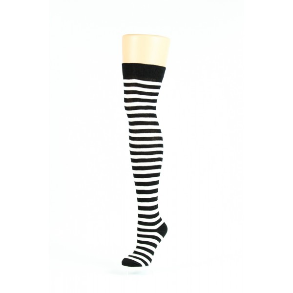 black and white thin striped over-the-knee socks