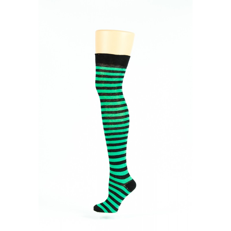black and green thin  striped over-the-knee socks