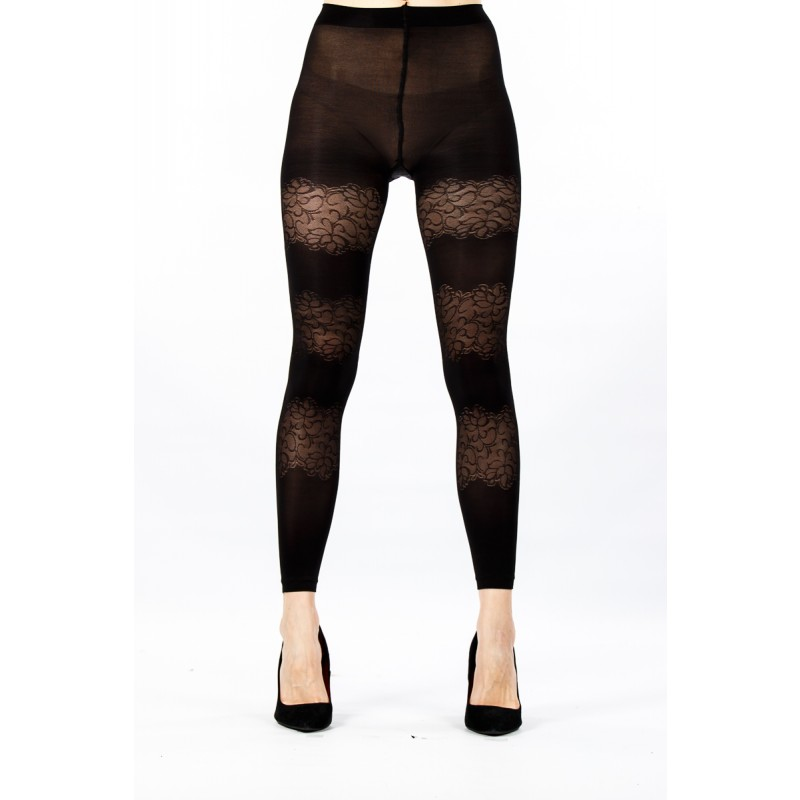 black with lace section design tights