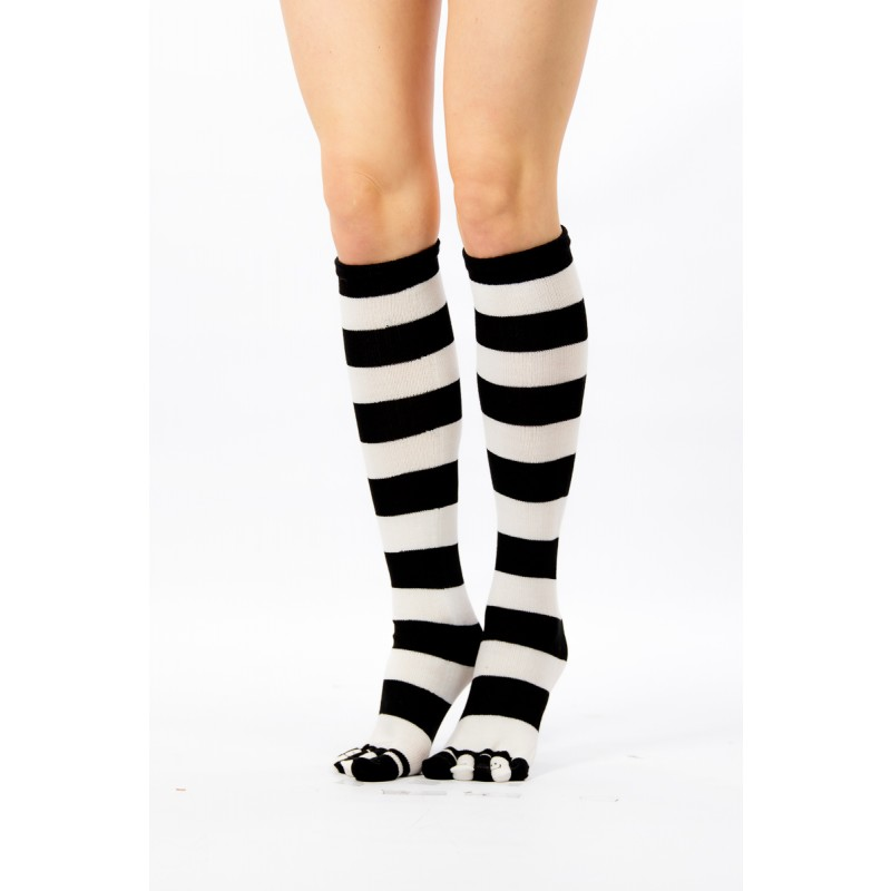 white and black high toe fit socks