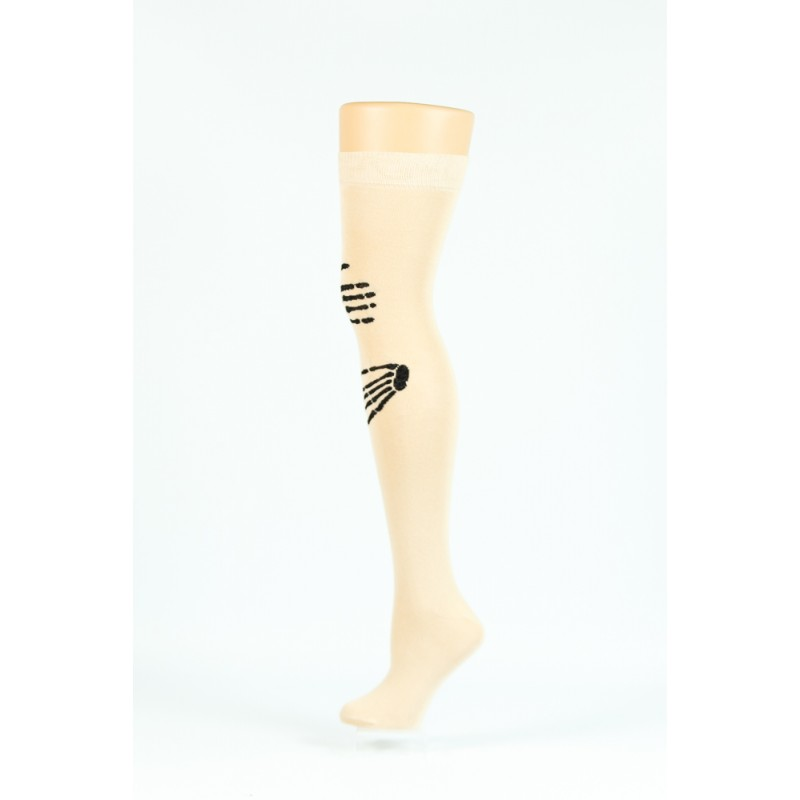 cream with black hand bone print over-the-knee socks