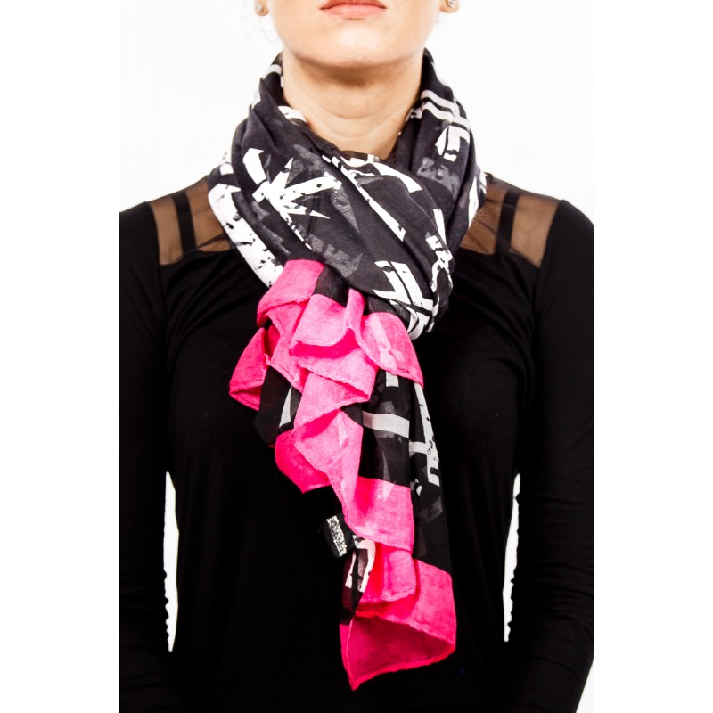 black and white pattern with pink edges scarf