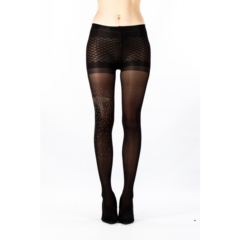 black with front gem stone tights