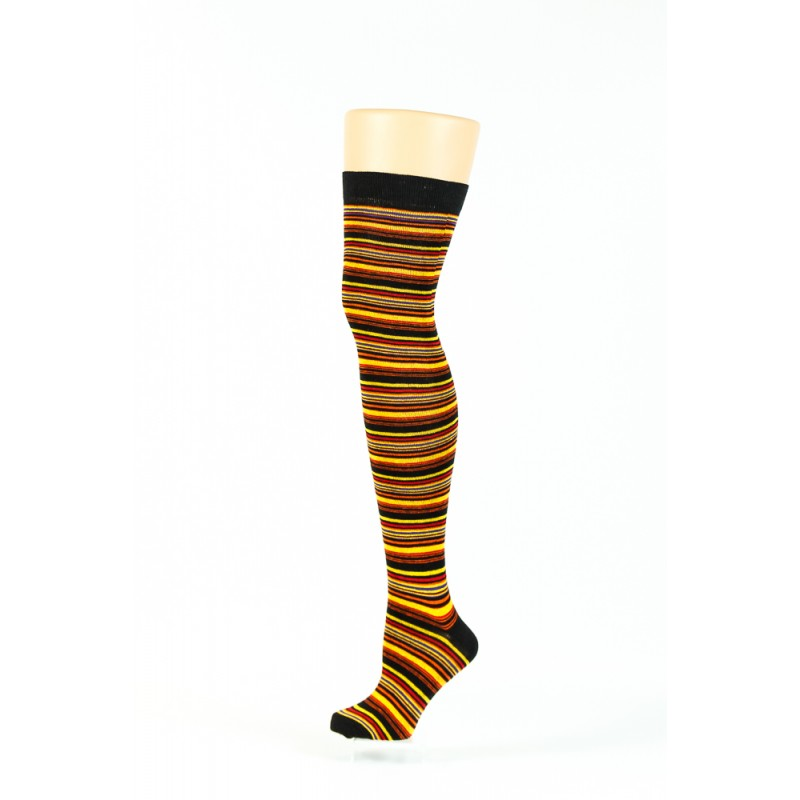 black and yellow multi coloured thin striped over-the-knee socks