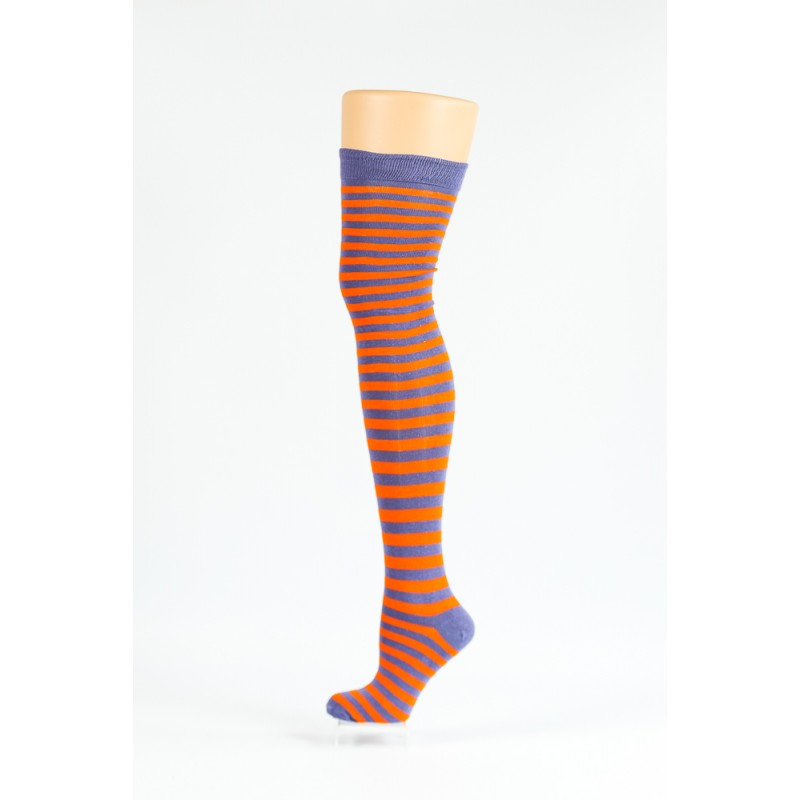 orange and violet striped over-the-knee socks