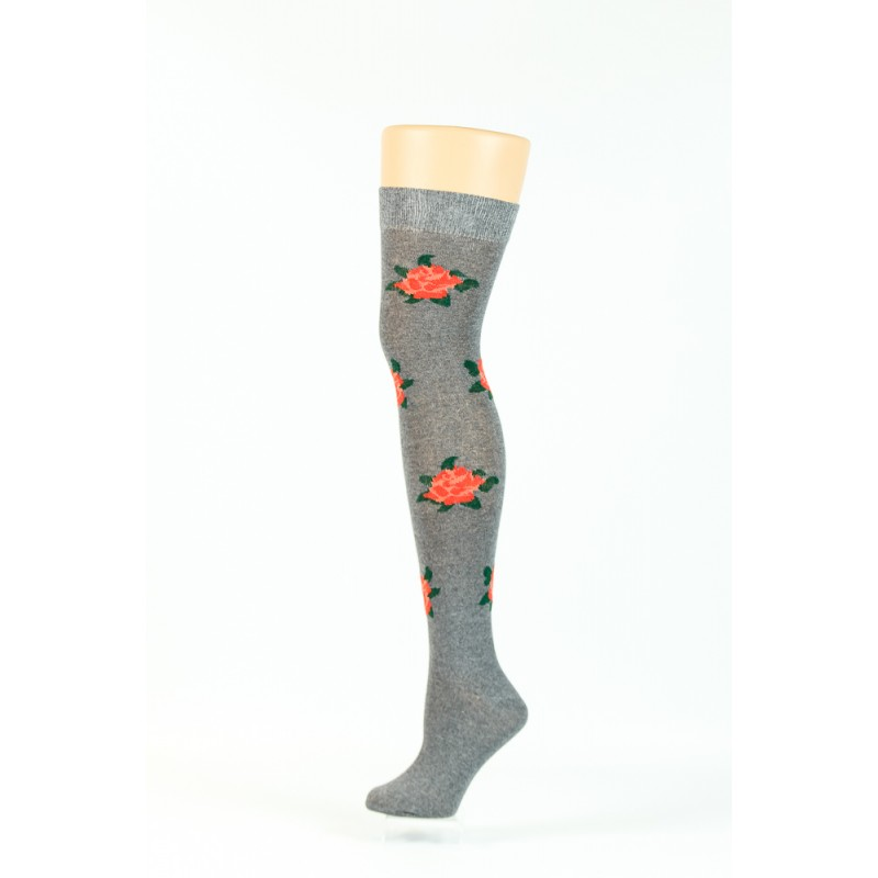 grey with rose print over-the-knee socks
