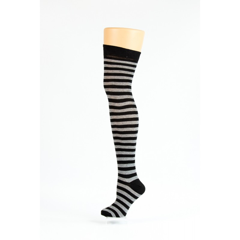 black and grey over-the-knee socks