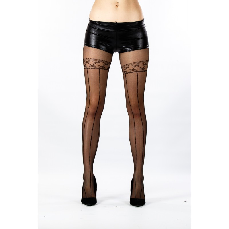 sheer tights with holdup print design