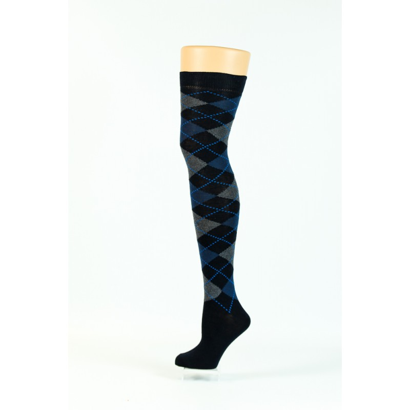 black blue and grey argyle over-the-knee socks
