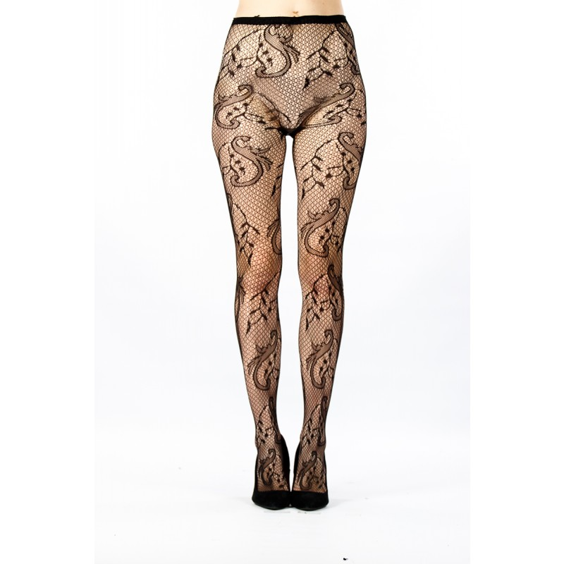 fishnet with floral and leaf pattern tights