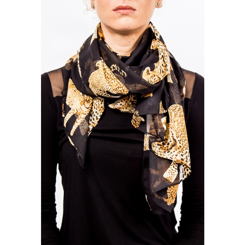 black with leopards pattern scarf