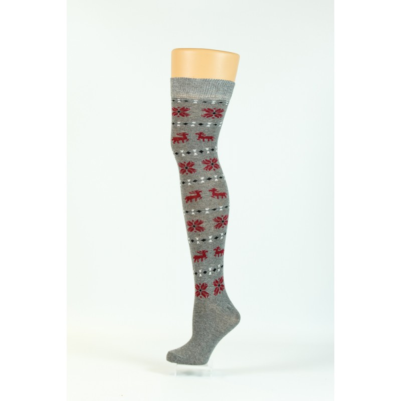 grey, red christmas pattern over-the-knee socks
