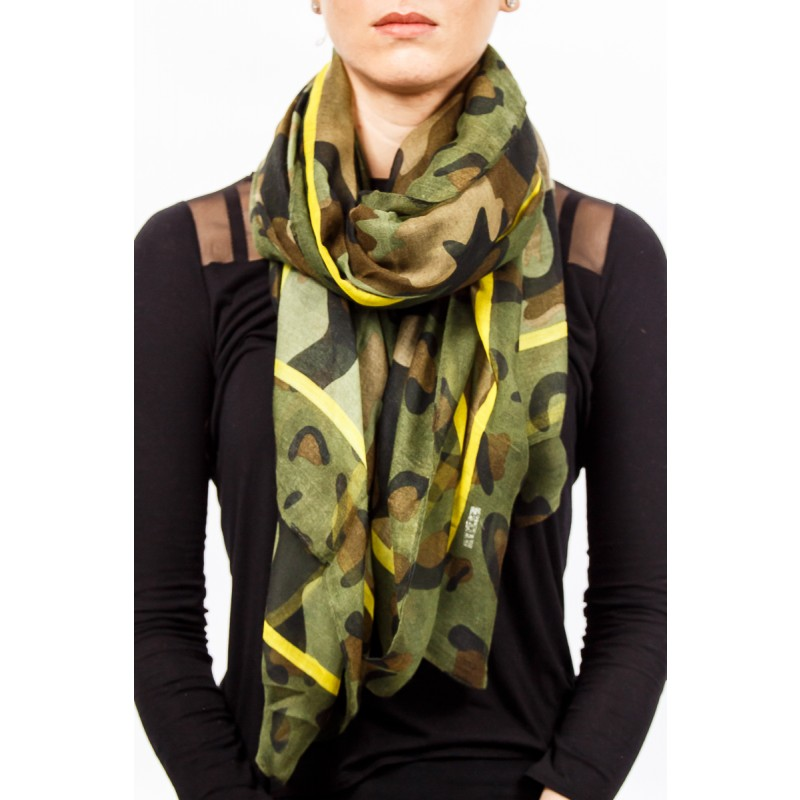 camoflague print with yellow trimming scarf