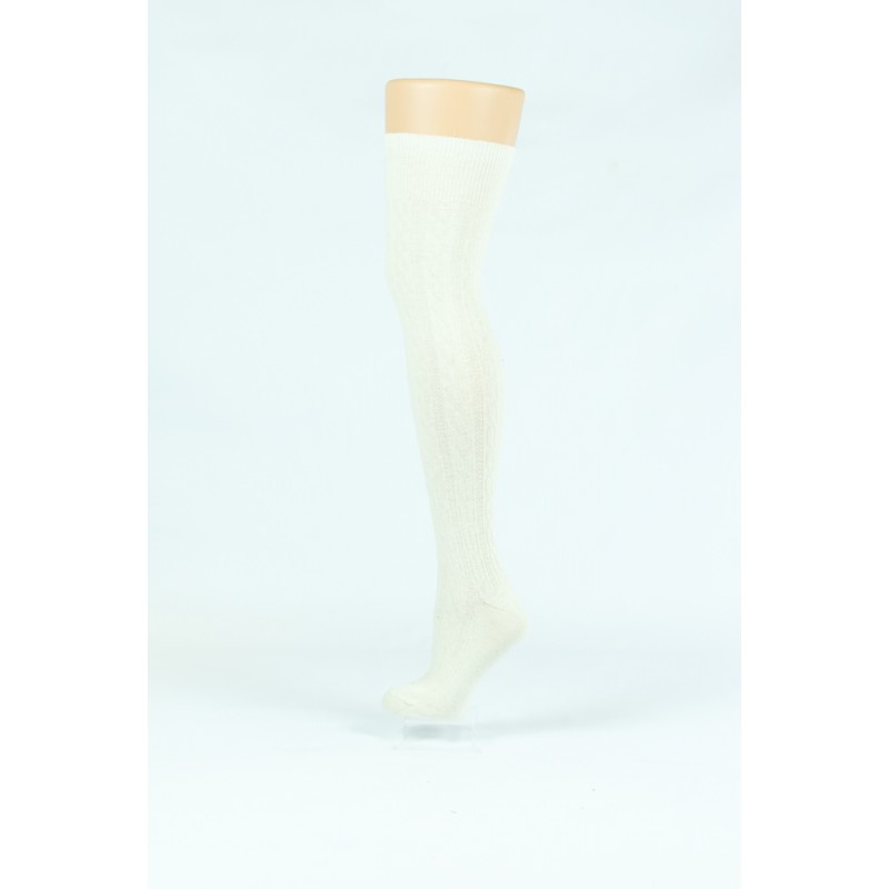 white knitted style over-the-knee socks