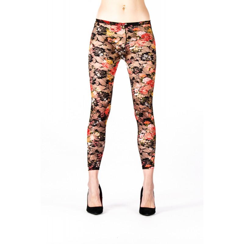 floral print yellow and pink footless tights