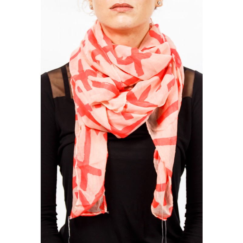 pink with red crosses scarf