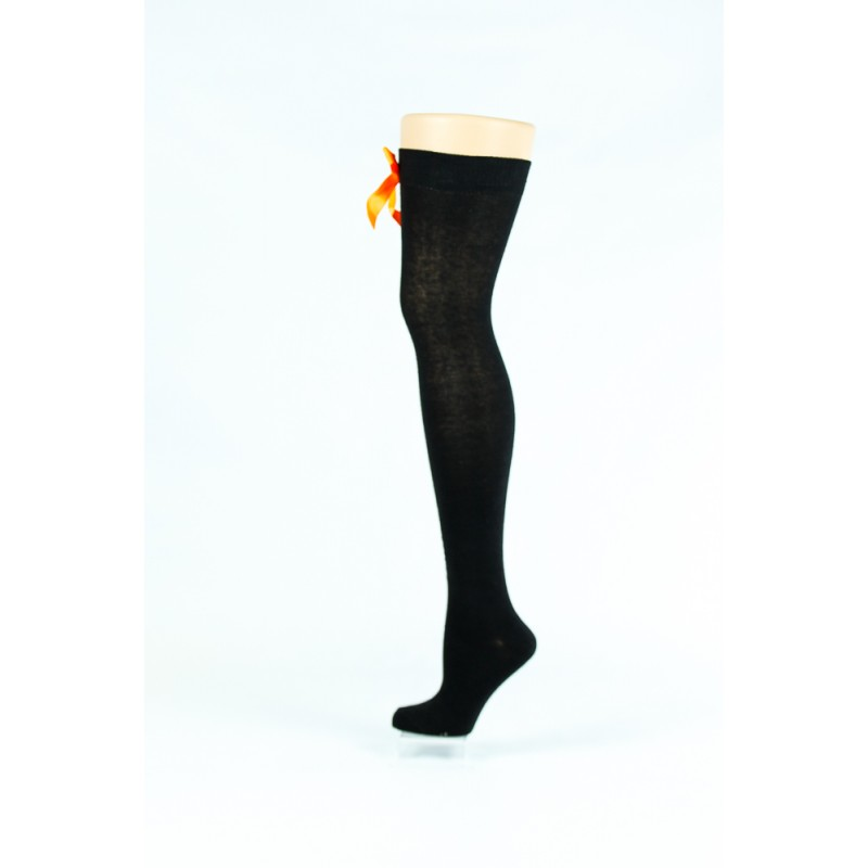black, orange bow over-the-knee socks