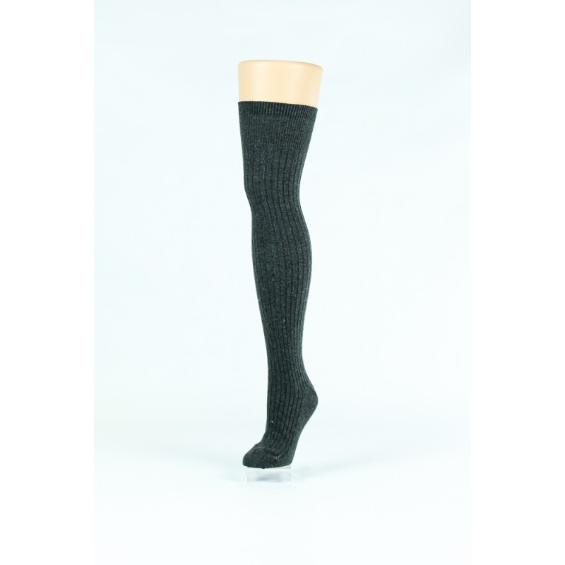 black, straight knitted style over-the-knee socks