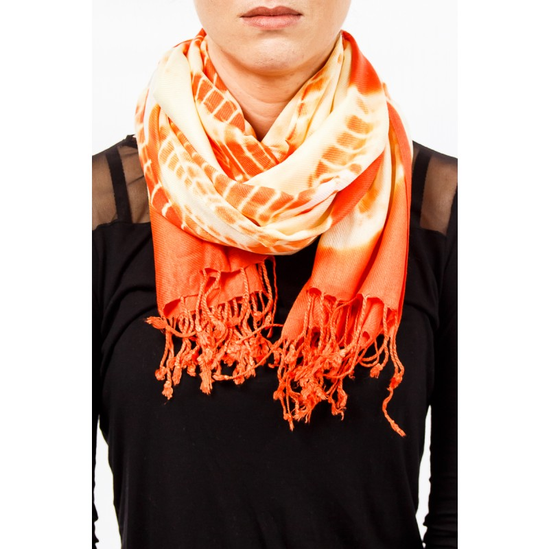 orange and cream scarf with tassles