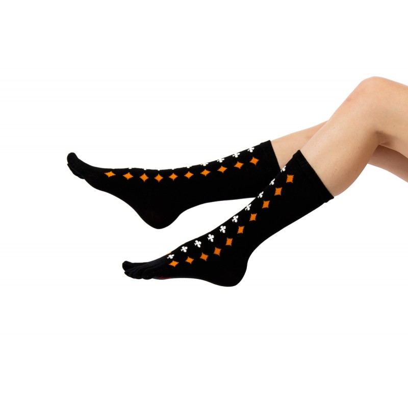 black with orange and white playing card suit pattern toe fit socks