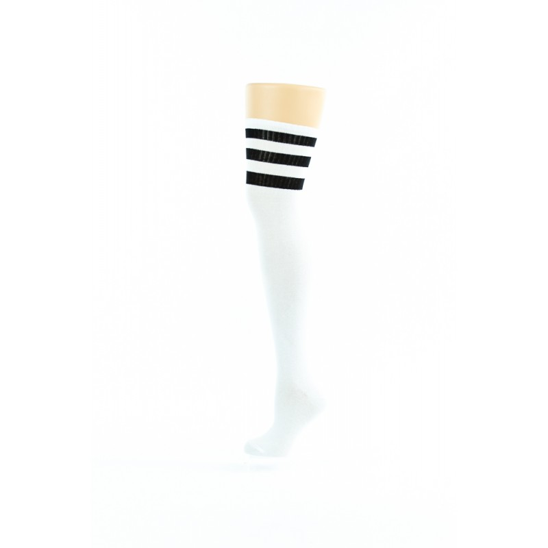 white, three black lines over-the-knee socks