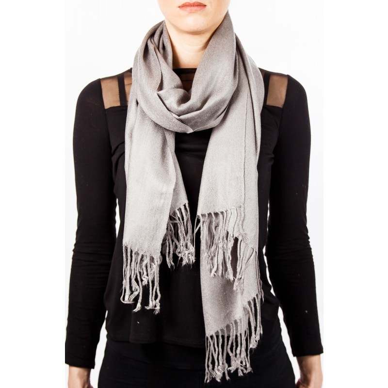 silver silky cotton scarf with tassles