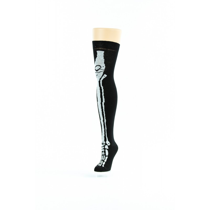black, white leg bone over-the-knee socks