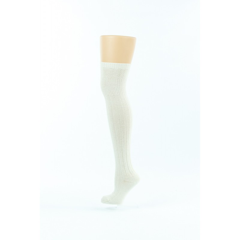 white straight knitted style over-the-knee socks 2