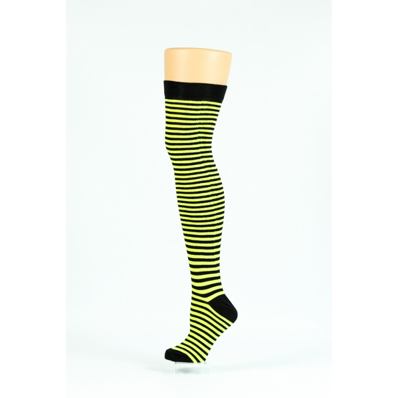 black and illumionous yellow thin striped over-the-knee socks
