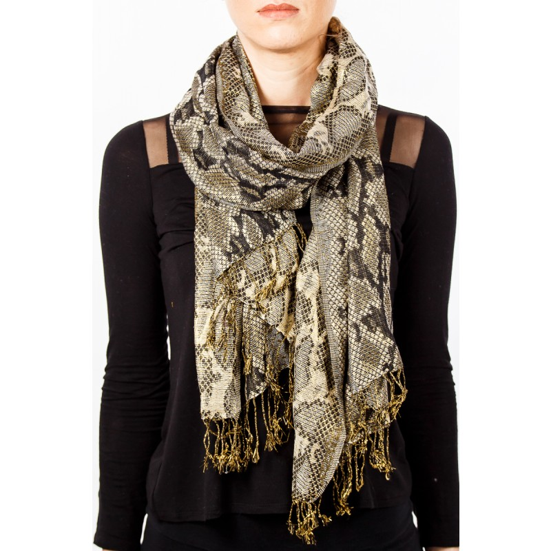 snake skin print scarf with tassles