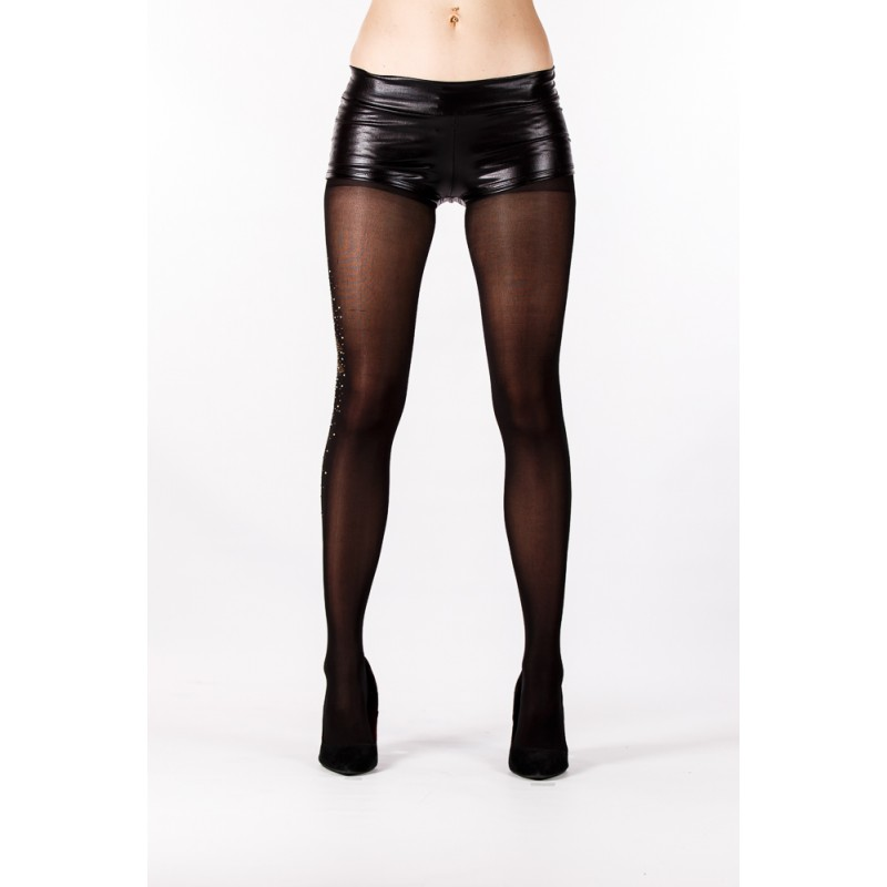 black with gemstone pattern on side tights
