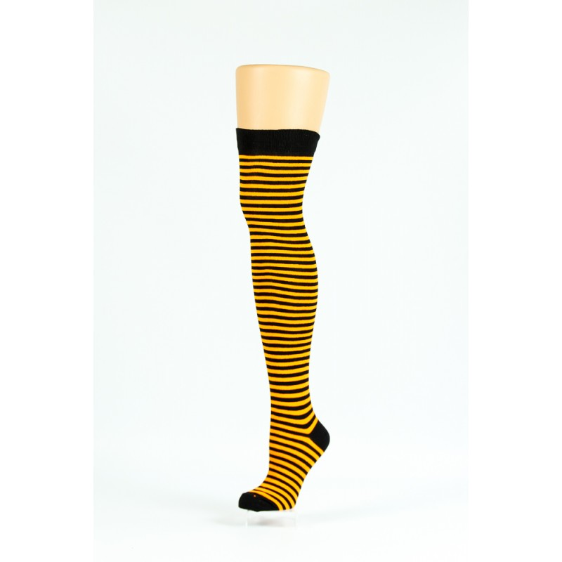 orange and black thin striped over-the-knee socks