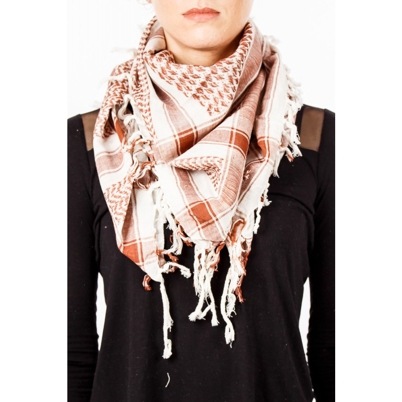 wite and brown scarf with tassles