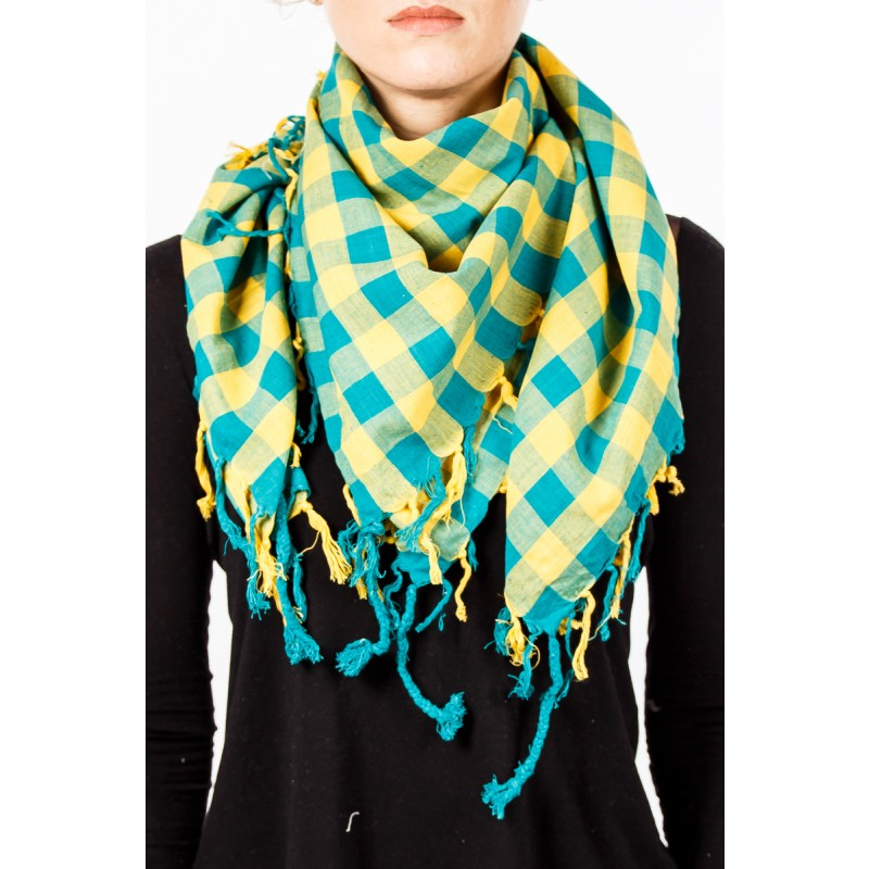 green and yellow chequered design scarf with tassles