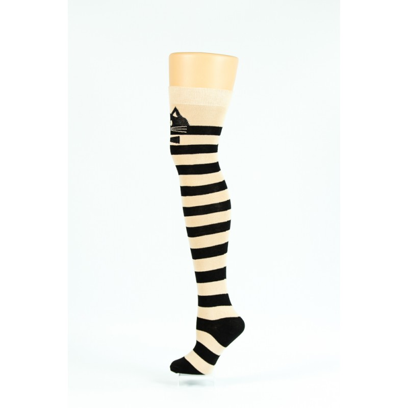 black and cream striped cat over-the-knee socks