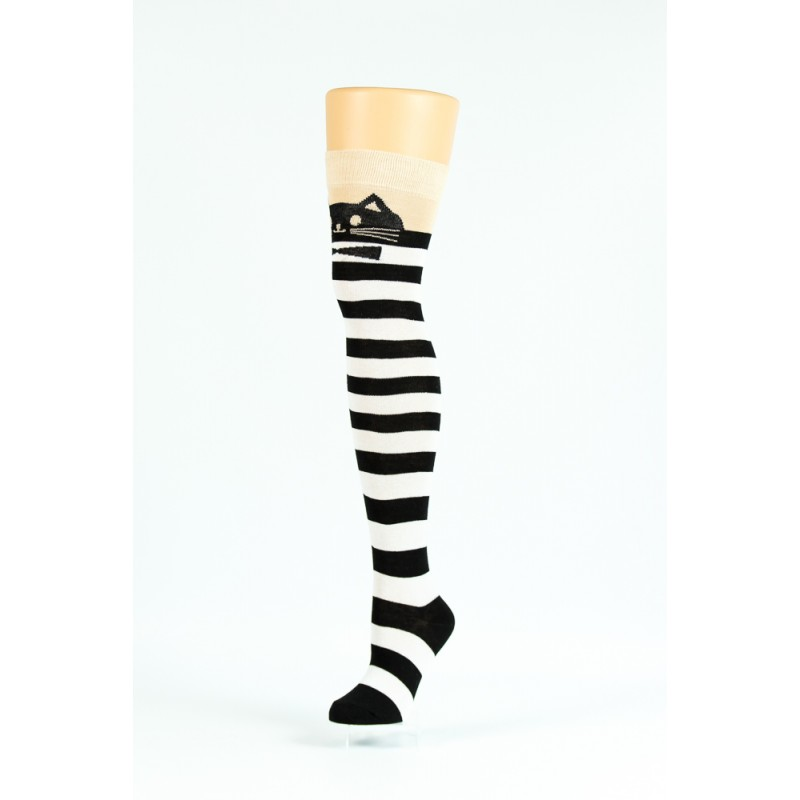 black and white striped cat over-the-knee socks