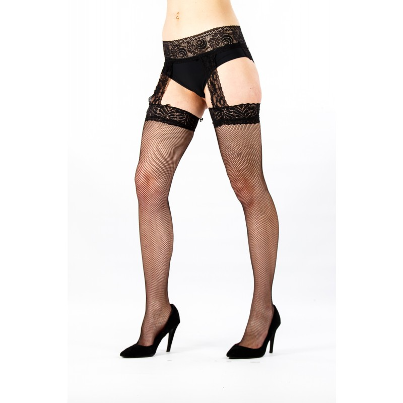 Black stockings with suspendor attatched