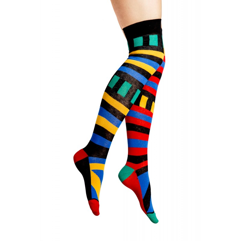 stripe and square multi coloured over knee socks