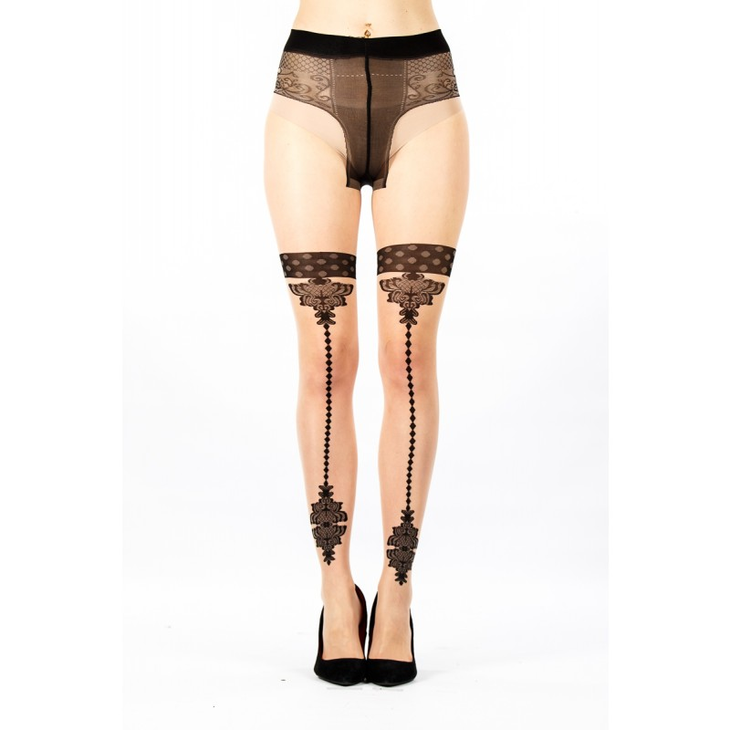 Nude Burlesque print tights