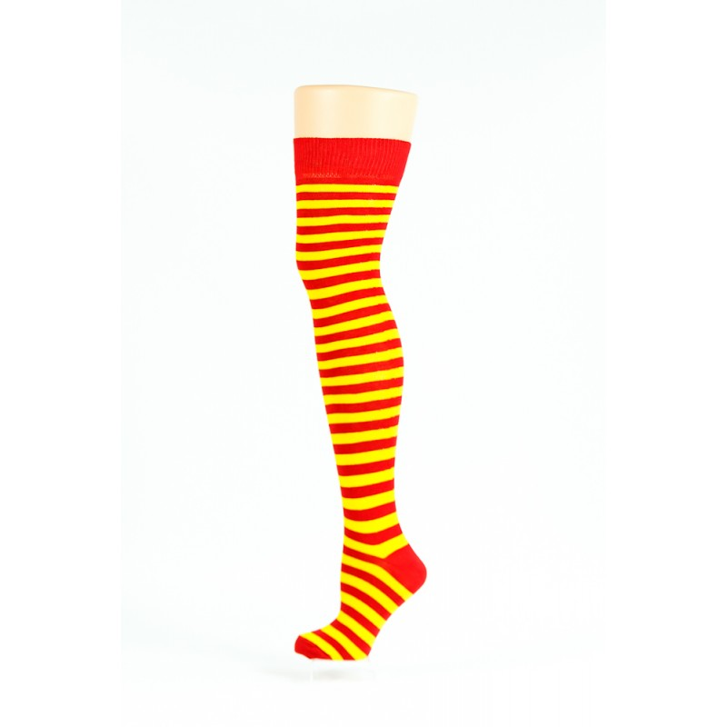 red and yellow thin striped over-the-knee socks