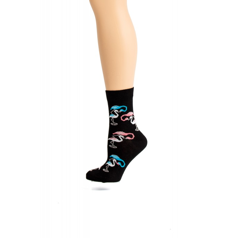 black with blue and pink birds socks