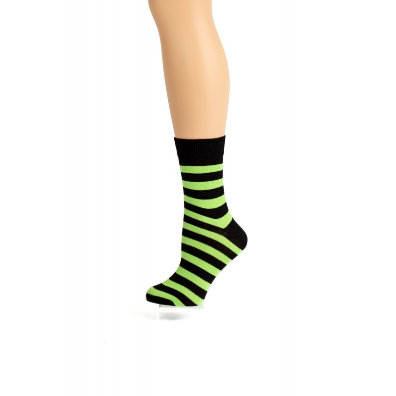 black and green striped socks