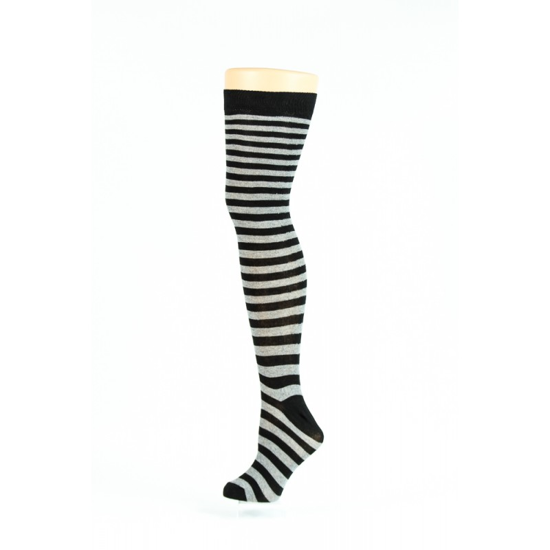 black and grey thin striped over-the-knee socks